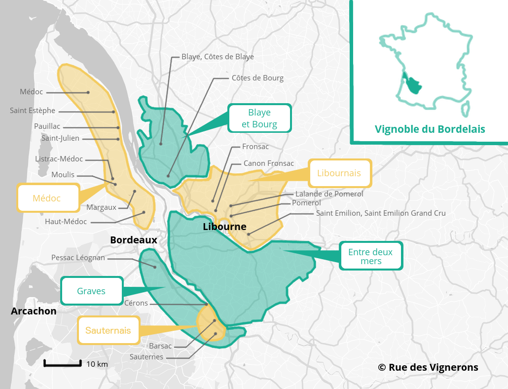 Carte vignoble bordeaux appellations bordelais