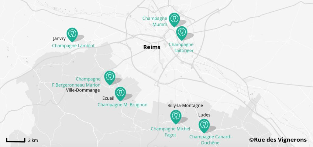 carte domaines proches de reims, maisons de champagne proches de reims