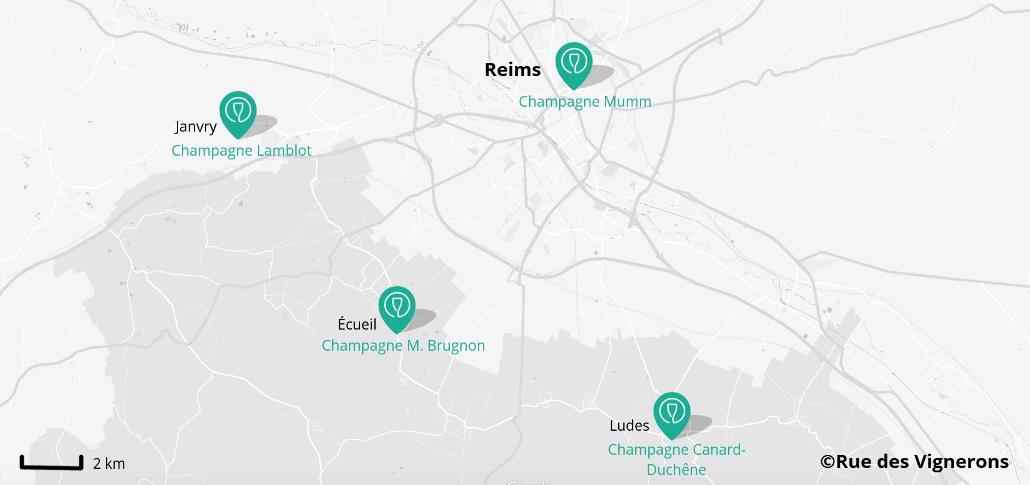 Carte domaines proches de Reims