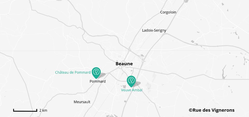 Carte des domaines viticoles proches de Beaune