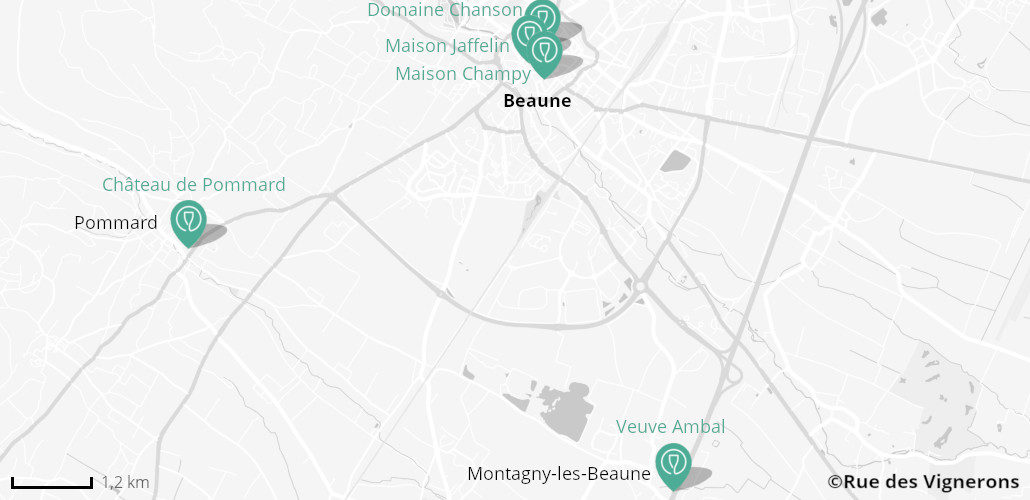 Carte domaines proches Beaune