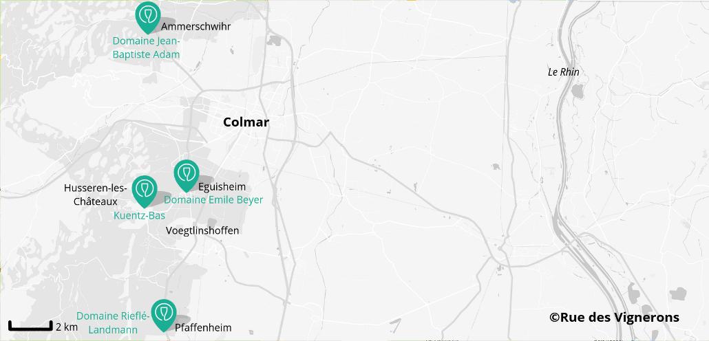 Carte domaines proches de Colmar