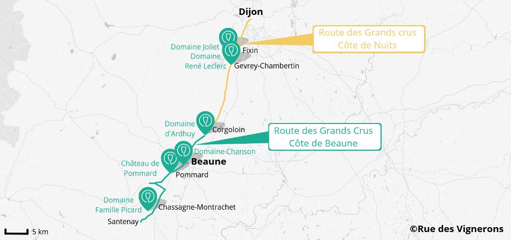 carte domaines viticoles route des Grands Crus
