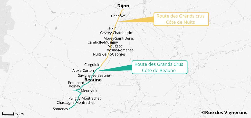 carte route des grands crus bourgogne