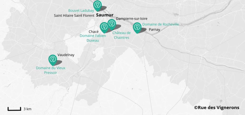 Carte domaines Saumur, domaines proches de saumur val de loire, dégustation saumur