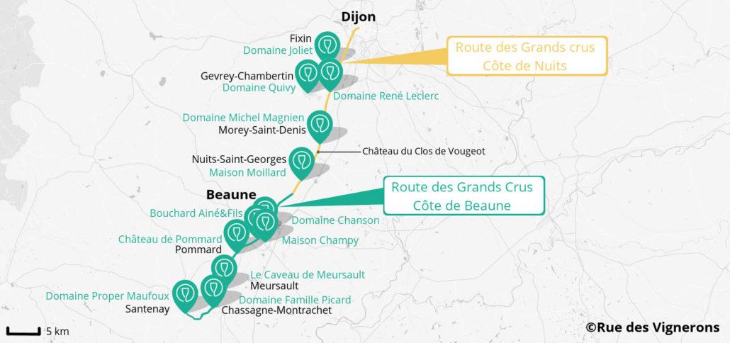 Carte Route Des Vins Bourgogne.Route Des Grands Crus En Bourgogne Blog Rue Des Vignerons