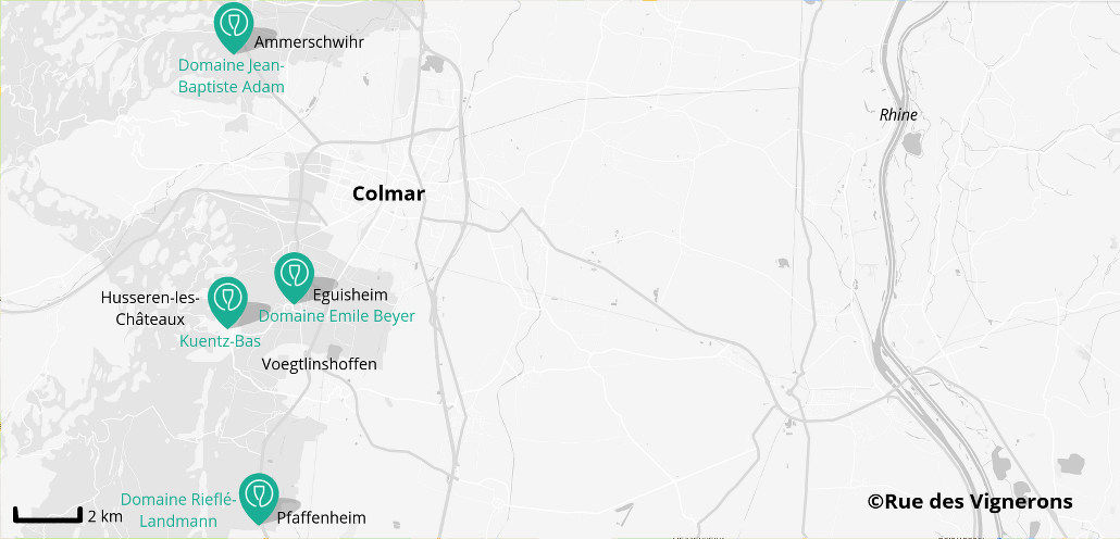Alsace wineries near Colmar, map
