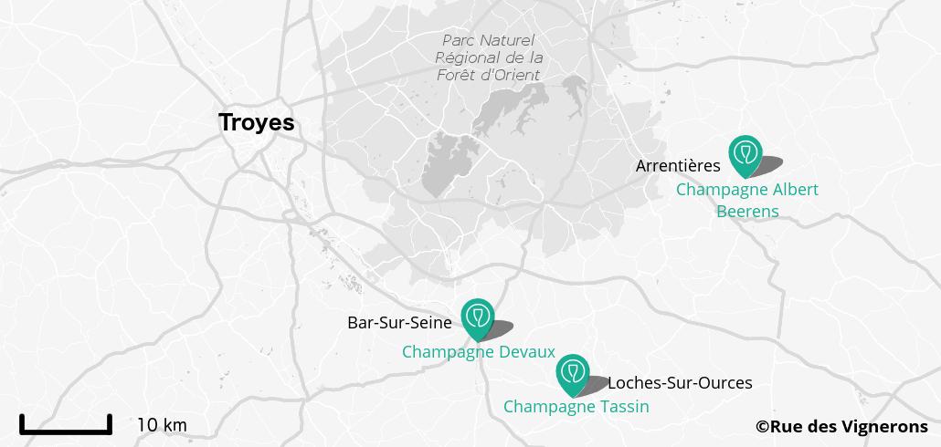 Carte producteurs champagne proches de Troyes, maisons champagne proche de Troyes