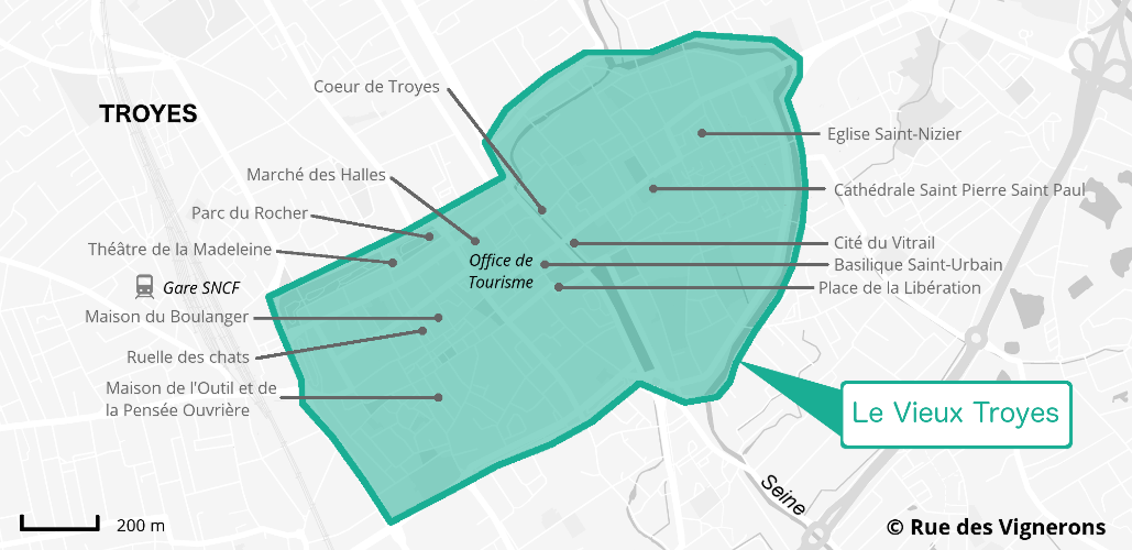 Carte centre ville historique Troyes
