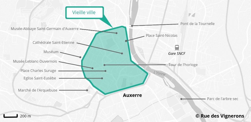 Carte centre ville historique Auxerre