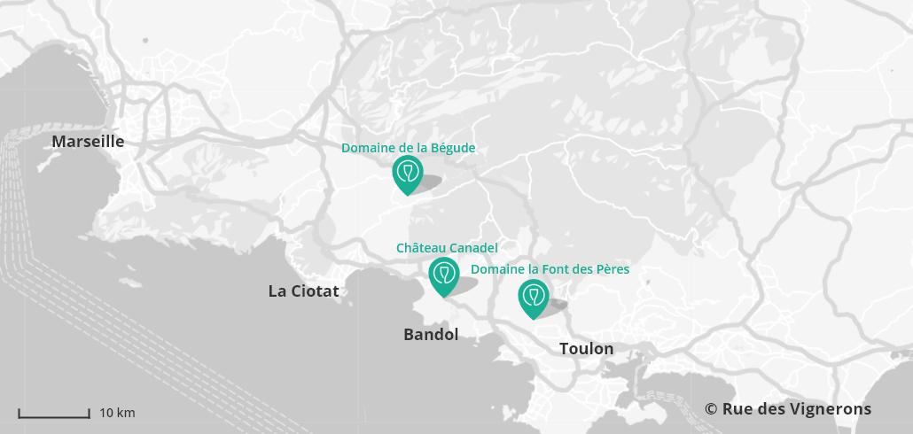 Carte des domaines aux alentours de Bandol