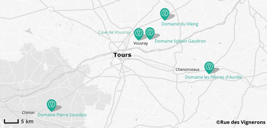 Carte vignoble proche de Tours, carte domaines pres de Tours