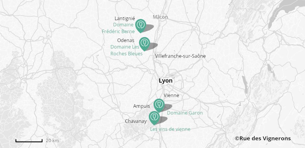 Domaines proches de Lyon, carte domaines beaujolais, domaines proches de lyon, vignoble proche de lyon, visite domaine proches de lyon, visite domaine vallée du rhone, visite domaine beaujolais, dégustation beaujolais, dégustation vallée du rhone
