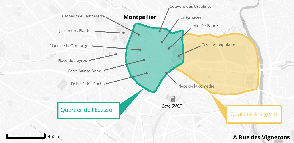 Carte centre ville Montpellier
