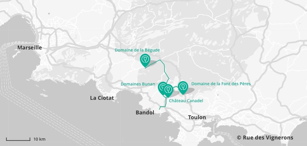 Carte de la route des vins de Bandol