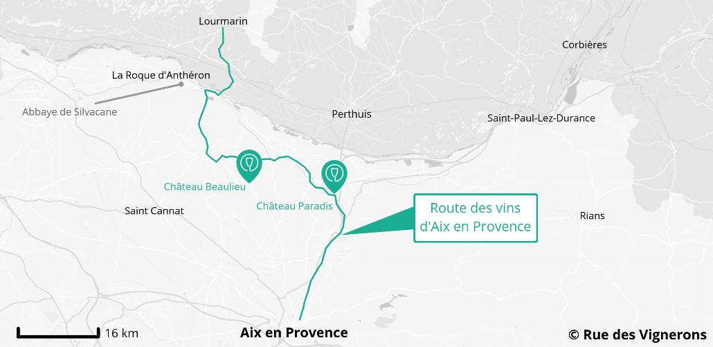 Carte de la route des vins Aix en Provence