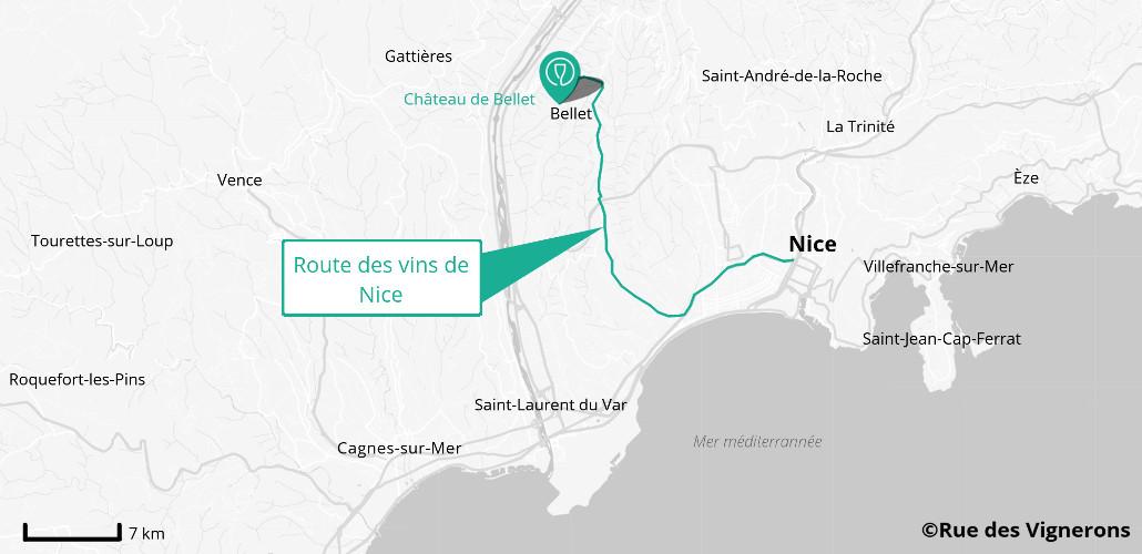 Carte de la route des vins de Nice