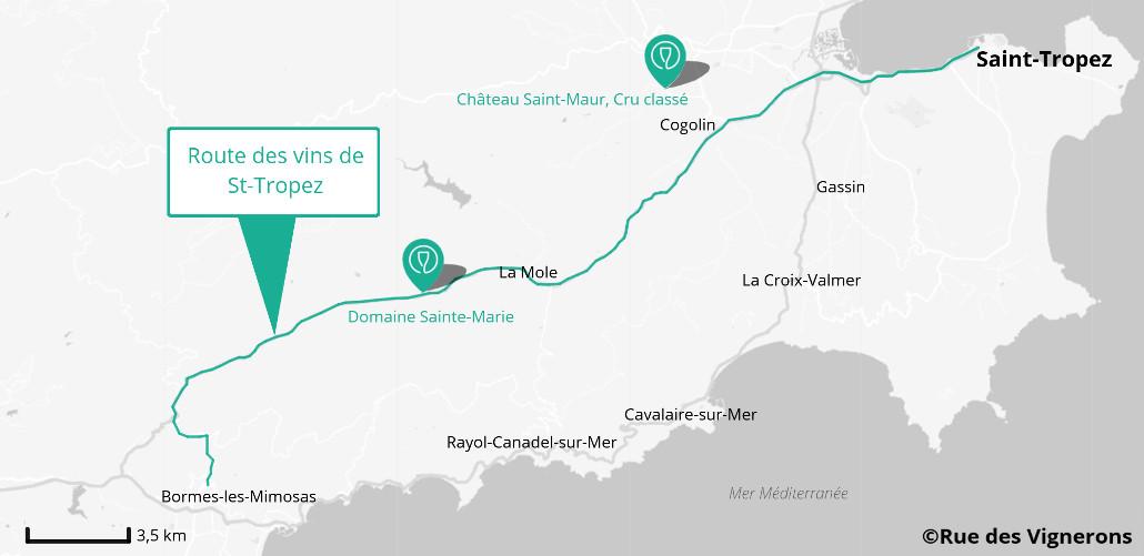 Carte de la route des vins de Saint Tropez Côtes de Provence