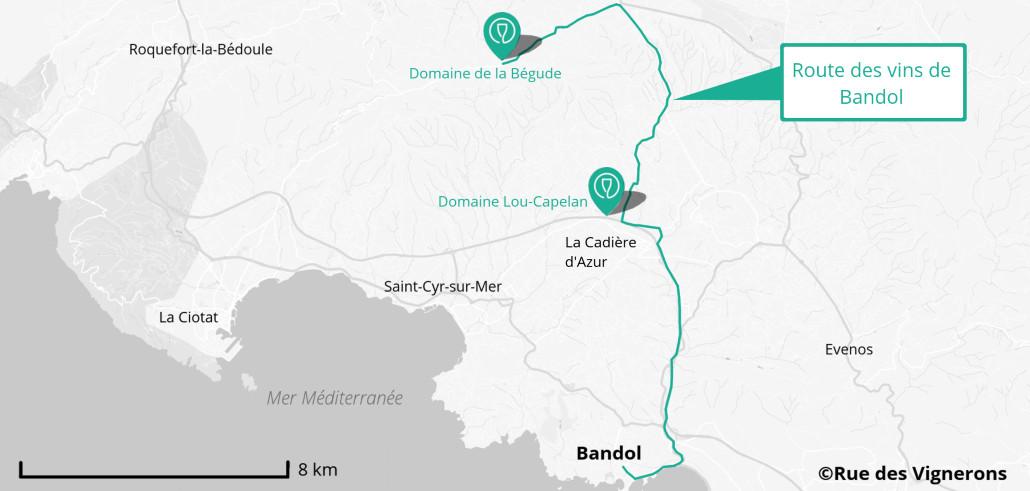 Route des vins de Bandol, route des vins de provence, domaines bandol, dégustation vins bandol, visite domaine provence, bandol route, bandol carte