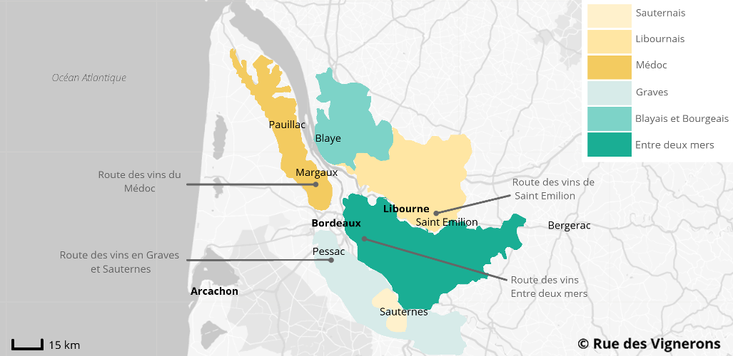 Carte Bordeaux Appellations.Route Des Vins De Bordeaux Guide Circuit Et Itineraire