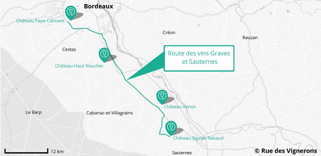 carte route des vins Graves et Sauternes, route des vins graves et sauternes, carte domaines route des vins et sauternes, carte route des vins pessac leognan