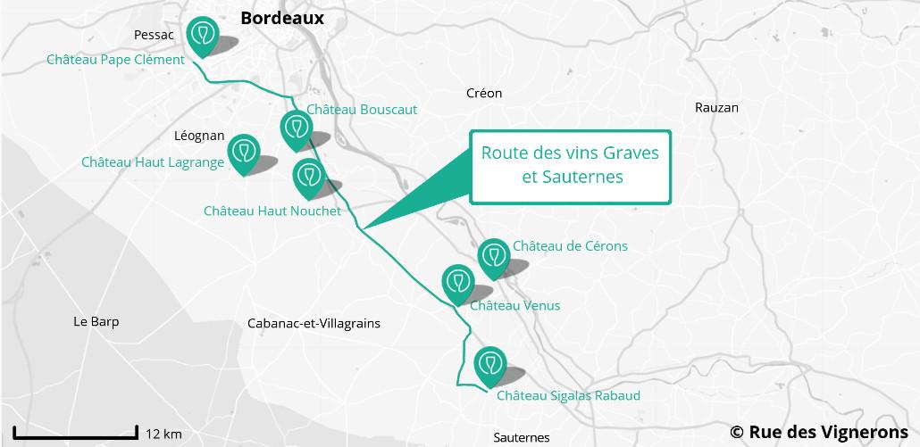 carte route des vins Graves et Sauternes, route des vins graves et sauternes, carte domaines route des vins et sauternes, carte route des vins pessac leognan, route des vins sauternes, carte sauternes, carte graves, cartes pessac
