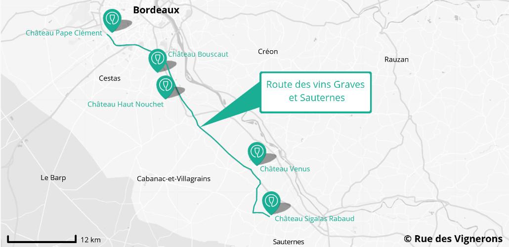 Route des vins en Graves et Sauternes, route des vins bordeaux, route des vins france, route des vins pessac, route des vins graves, route des vins sauternes, carte route des vins grave et sauternes, carte route des vins bordeaux