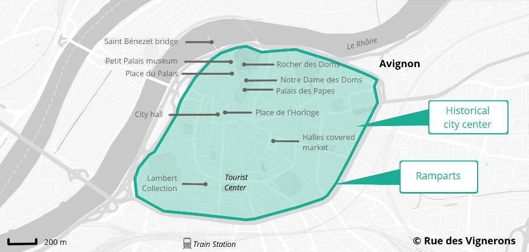 Avignon tourist map, avignon city center map