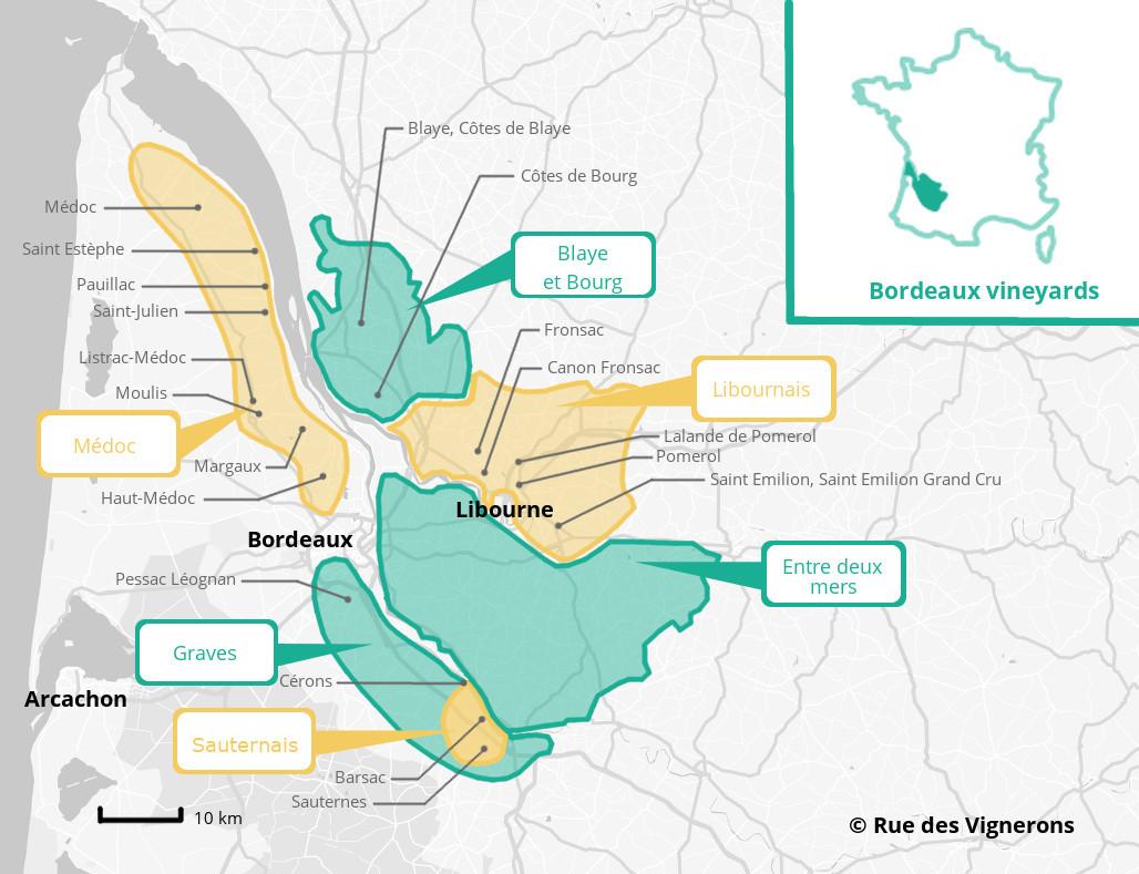 bordeaux vineyards map, wine map