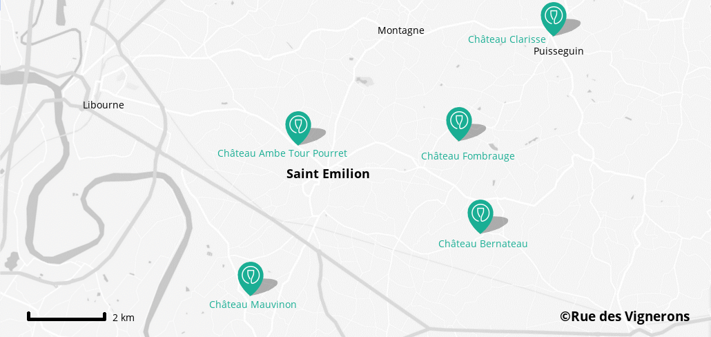 map of st emilion vineyards, wineries close to st emilion