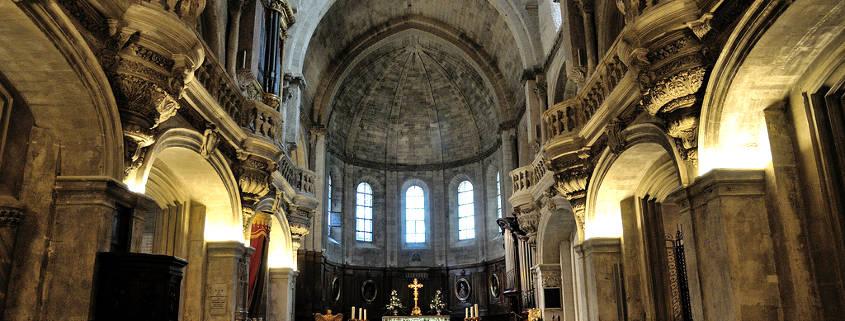 Inside of Notre Dame des Doms cathedral Avignon