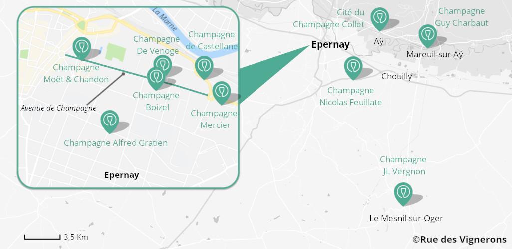 Champagne houses map, Champagne houses map epernay, champagne houses epernay, champagne houses near epernay, visit champagne houses, champagne tasting epernay