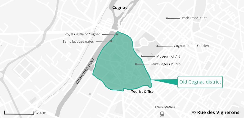 cognac city map, cognac tourist map