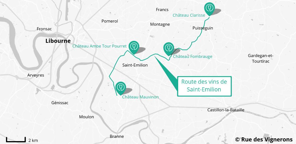 route des vins st emilion, carte route des vins saint emilion, carte domaines st emilion