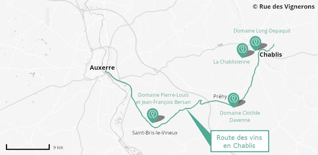 route des vins chablis, carte route des vins chablis, itinéraire route des vins chablis