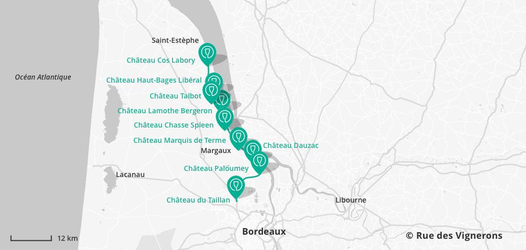 Carte des domaines Route des vins du Médoc