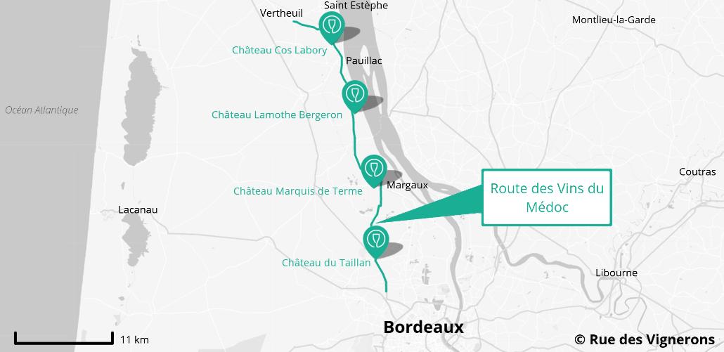 carte route des vins du médoc, domaine route des vins médoc, visite domaine route des vins médoc