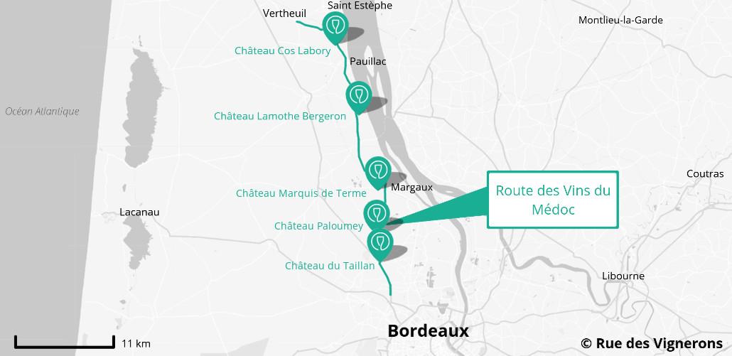 Route des vins du Médoc, carte route des vins medoc, carte route des vins bordaux, domaines route des vins medoc, dégustaitons route des vins medoc