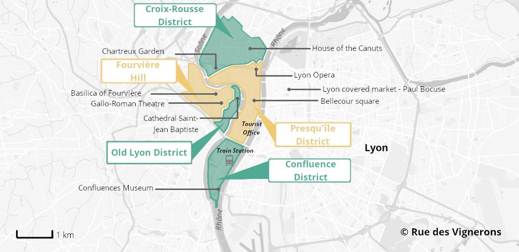 Map of Lyon city, lyon map, lyon city map, lyon tourist map, lyon districts, lyon districts map
