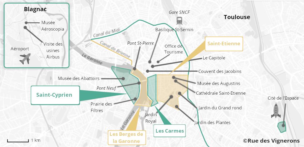 Carte de la ville de Toulouse, toulouse carte touristique, toulouse carte de la ville, toulouse que visiter, les quartiers de toulouse, visiter toulouse, que faire à toulouse, itinéraire toulouse