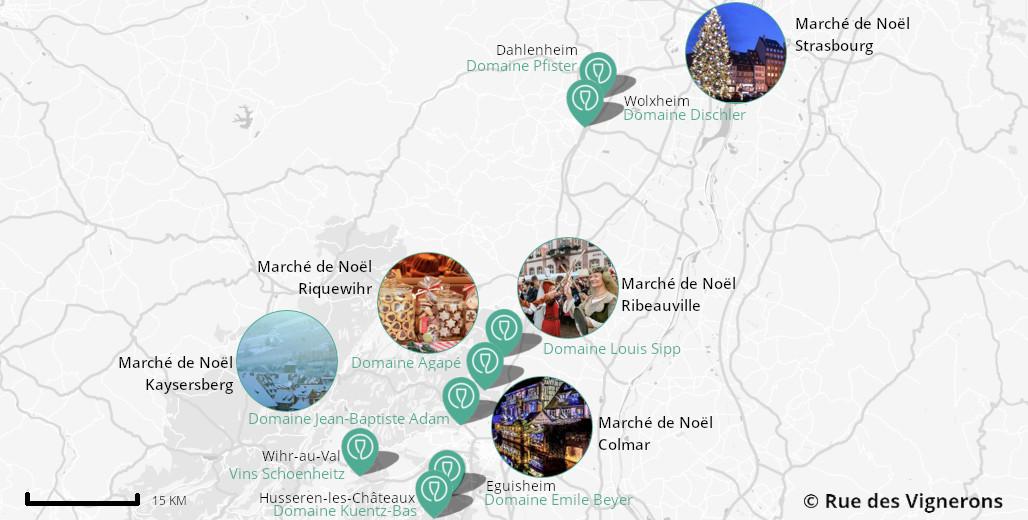 Carte des marchés de noël et domaines alsace, carte marchés alsace