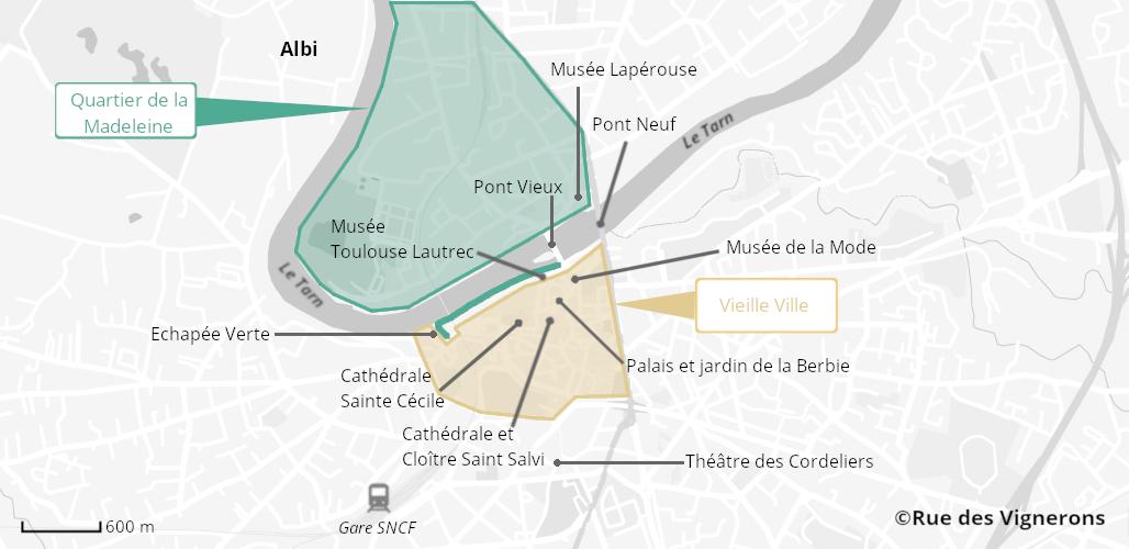 Carte de la ville d'Albi, albi carte touristique, albi carte de la ville, albi carte, albi quartiers, que voir à albi, monuments albi, musées albi