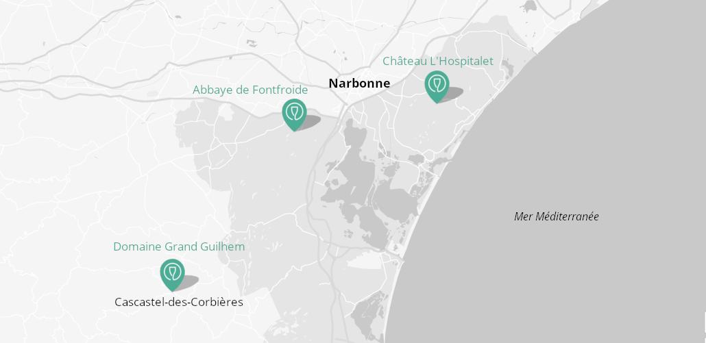 domaines viticoles narbonne, dégustation narbonne, visite caves narbonne, abbaye de fontfroide, chateau l'hospitalet, corbières