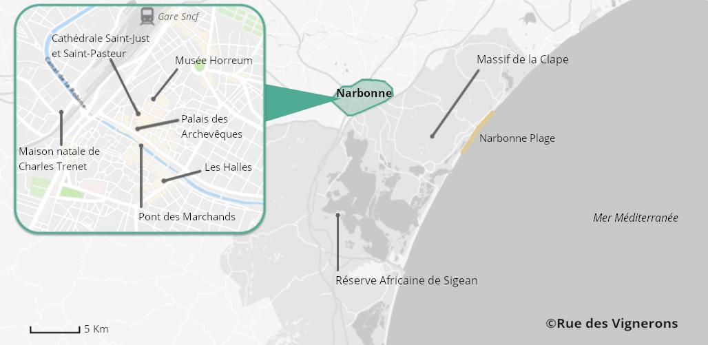 Carte de Narbonne, ville de narbonne, visiter narbonne, carte touristique narbonne, carte de la ville narbonne, que voir à narbonne, que faire à narbonne, centre ville narbonne