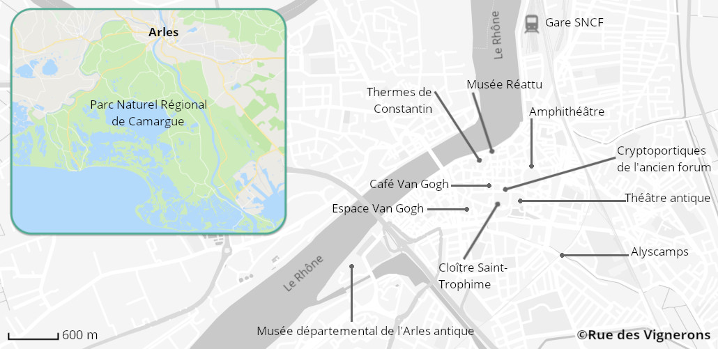 Carte de la ville d'Arles, arles carte, arles carte touristique, carte centre ville arles