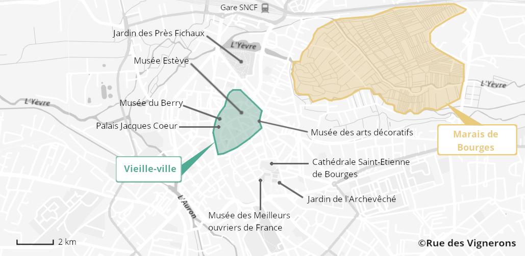 Carte de la ville de Bourges, carte bourges, plan bourges, carte touristique bourges