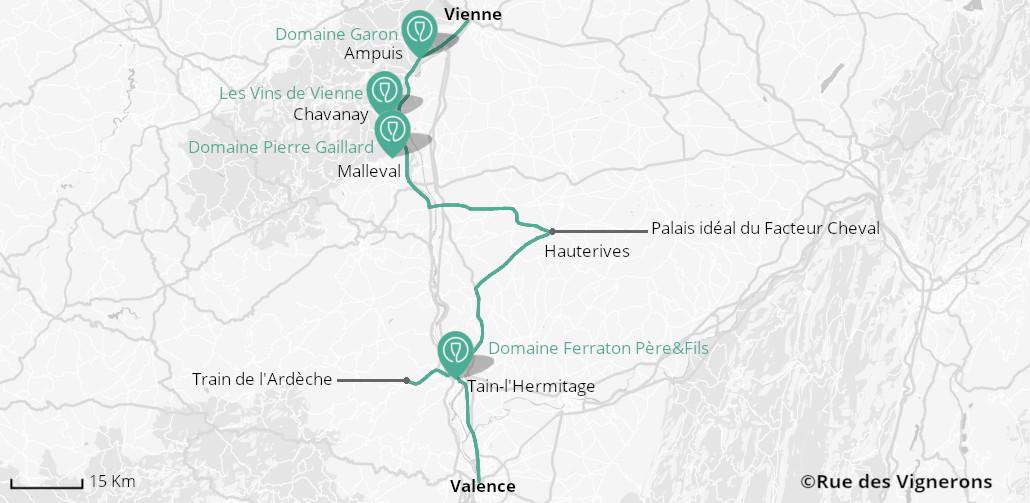 Carte de la route des vins de la vallée du Rhône nord, route vin rhone nord carte, route des vins du rhone carte, vallee du rhone nord carte