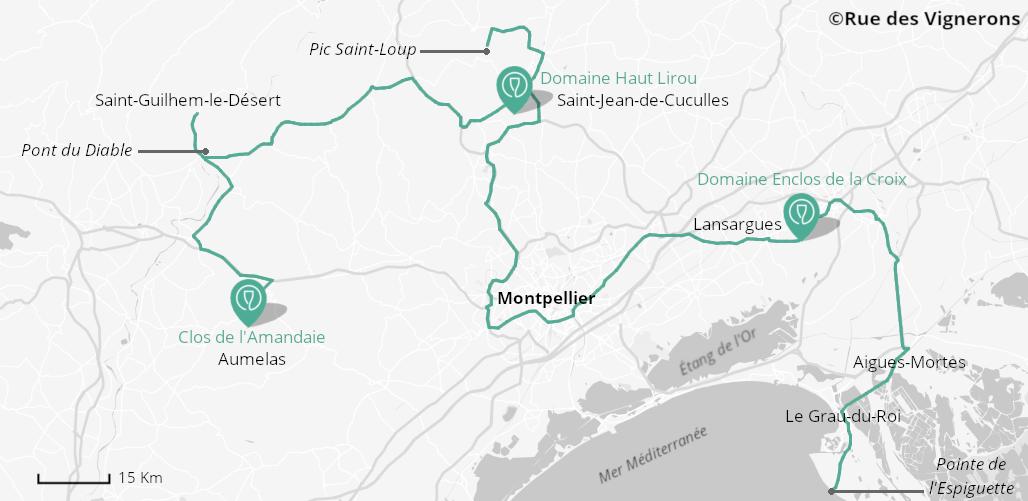 Carte de la route des vins du Languedoc, route des vins languedoc carte, route des vins montpellier carte, carte vignobles languedoc, carte vignobles vers montpellier