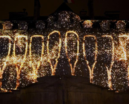 Facade of Epernay City Hall illuminated during the Habits de Lumière festival, Habits de Lumière festival epernay, Habits de Lumière festival 2019