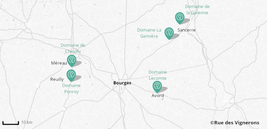 Domaines viticoles proches de Bourges, carte domaines loire, carte domaines vers bourges, carte domaines sancerre, visite vignoble sancerre, visite vignoble bourges, dégustation sancerre, dégustation bourges